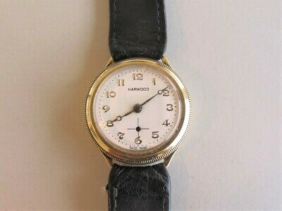 HARWOOD 14K Gold HAMMER Automatic 1920s  First Automatic Wristwatch  SWISS 28mm • 842.64£