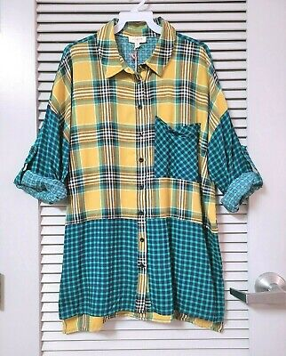 $ CDN1.26 • Buy Yellow/ Green Mix Plaid Roll-up Slev Shirt Top M W/ Anthropologie Earrings