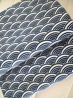 AU8.99 • Buy From Japan Linen Cotton Fabric Quilting - Fat Quarter - Tradition Navy Pattern 2