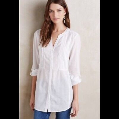 $ CDN44.14 • Buy Maeve ANTHROPOLOGIE Pintucked WHITE Buttondown TUNIC Blouse COTTON Shirt SMALL 4