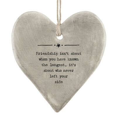 East Of India Rustic Grey Friendships Hanging Heart Decoration 9x8cm • 6.49£