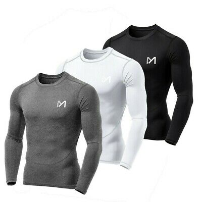 £10.08 • Buy Mens Compression Base Layer Top Long Sleeve Body Fitness Gym Sports Fit Shirt