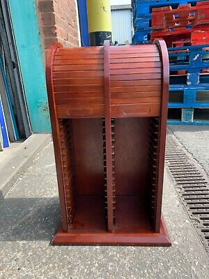2 Wooden Roller CD Storage Mahogany Colour Stack Rack Cabinets (£10 Each) • 20£