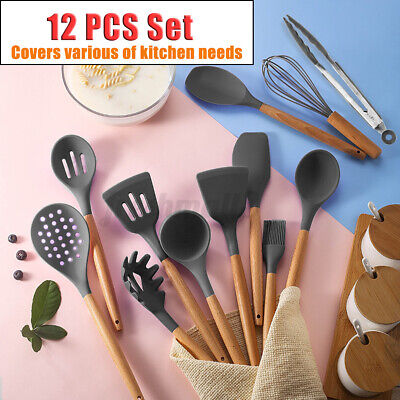 AU29.99 • Buy 12 PCS Non-stick Wooden Handle Silicone Cooking Utensil Set With Storage