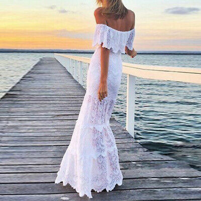 AU37.33 • Buy Womens Off The Shoulder Solid Lace Dress Boho Beach Holiday Party Maxi Dresses