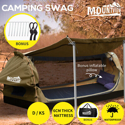 AU289.99 • Buy Mountview Double King Single Swag Camping Swags Canvas Dome Tent Standing Khaki