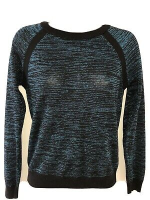 M&S LIMITED COLLECTION Black/Blue Sparkly Long Sleeve Jumper Size 10 • 5.99£