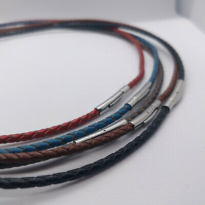 £1.79 • Buy Premium Braided Leather Cord 3mm Necklace Bayonet Clasp 16-24  UK