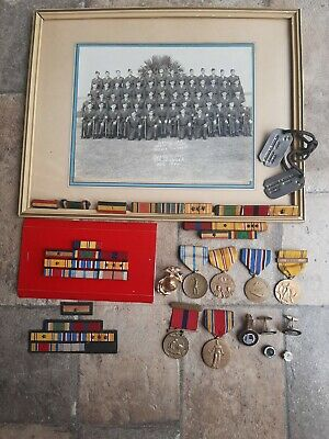 $120 • Buy WW2 WWII USMC Grouping Dog Tags, Photos, Wolf Brown Ribbons, Medals, EGA Named