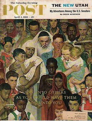 $ CDN129.98 • Buy 1961 Saturday Evening Post April 1 - Norman Rockwell - Do Unto Others - Rare