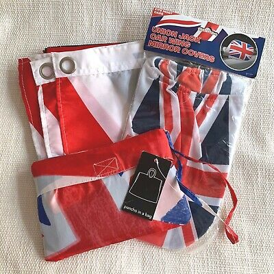 Union Flag Poncho In A Bag & Car Mirror Covers NEW Red White & Blue Washable • 2.99£