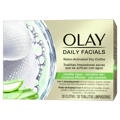 AU15.31 • Buy Olay Daily Facials Sensitive Water Activated Dry Cloths, 5-in-1 Cleansing Power