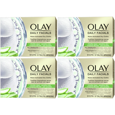 AU40.57 • Buy 4 X Olay Daily Facials Sensitive Water Activated Dry Cloths, 5-in-1 - Cleansing
