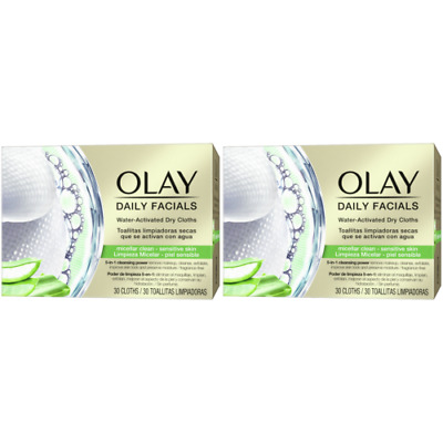 AU23.74 • Buy 2 X Olay Daily Facials Sensitive Water Activated Dry Cloths, 5-in-1 - Cleansing