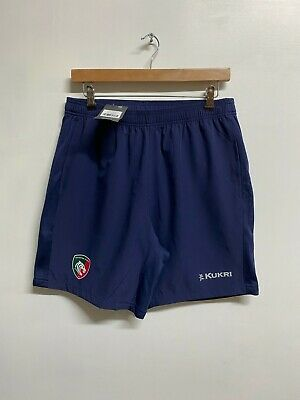Leicester Tigers Rugby Shorts Men's Kukri Rugby Gym Training Shorts - Navy - New • 17.99£