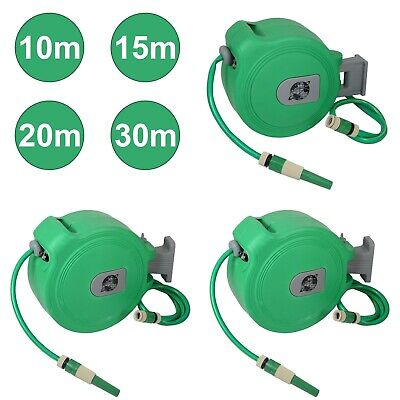 10 15 20 & 30M Auto Retractable Wall Mounted Water Hose Reel Watering Spray Tool • 62.99£
