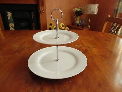Porcelain 2 Tier Cake Stand. Used. Very Good Condition. White. • 4.75£