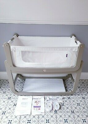 Snuzpod 2 Grey Bedside 3in1 Crib Next2Me Style Cot With Mattress & Instructions  • 110£
