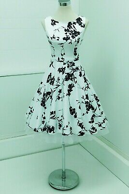 Grace Karin 50s Pinup Style Full Skirt Dress White/Black Floral M (12) Mad Men • 25£