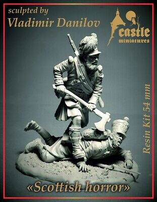 Castle Mins Scottish Horror Waterloo 1815 2 Figure Set 54mm Unpainted Kit • 45.99£