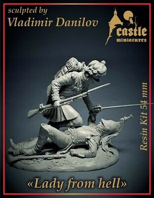 Castle Mins Lady From Hell Waterloo 1815 2 Figure Set 54mm Unpainted Kit • 45.99£