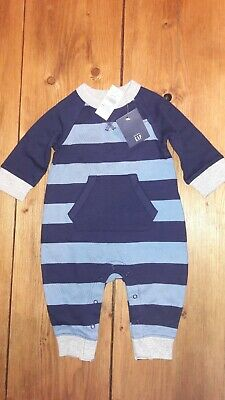 BNWT Baby Gap Boys Romper Suit Blue And Grey 3-6 Months • 0.99£