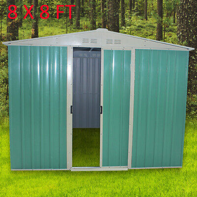 New Large 8x8ft Metal Garden Shed Storage Apex Roof With Free Base Framework • 319.99£