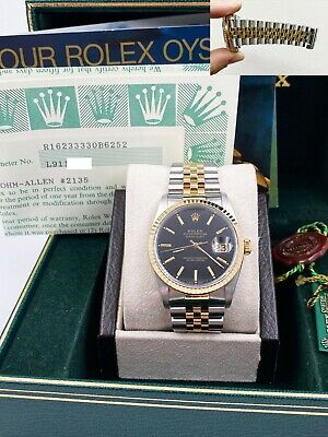 $ CDN9992.70 • Buy Rolex Datejust 16233 Black Dial 18K Yellow Gold Stainless Steel Box Papers
