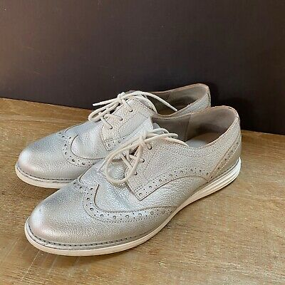 $ CDN36.70 • Buy Cole Haan Grand OS Womens Metallic Lace Up Oxford Shoes Gray Silver Size 8.5 B