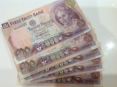 X5 First Trust Bank Ireland (£20) Twenty Pound Notes 1998 Nice Collectable Grade • 100.12£