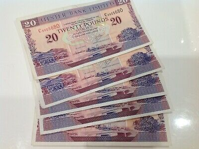 X5 Ulster Bank Ltd (£20) Twenty Pound Notes 2002-2004 Nice Collectable Banknotes • 100.12£