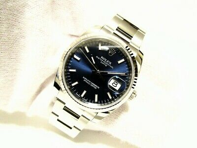 $ CDN9833.31 • Buy Rolex Oyster Perpetual Date 115234 Blue Dial Box And Papers Mint