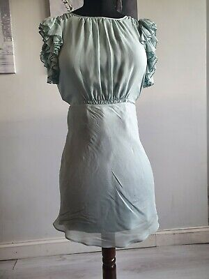 Beautiful 100% Silk Frilly Topshop Kate Moss Backless Dress Size 10  • 5£