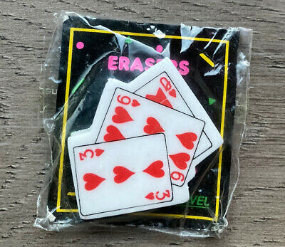 Vintage 80s Erasers Rubbers - Hearts Playing Cards Erasers In Original Packet • 6£