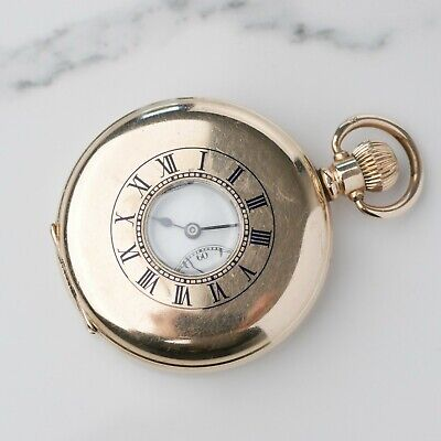 Beautiful Antique Half Hunter Limit Pocket Watch 10ct Rolled Gold (SEE VIDEO) • 285£