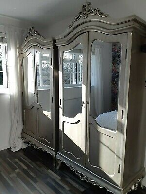 Antique French Painted Mirrored Double Door Wardrobe • 495£