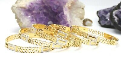 £5560 • Buy 22ct Gold Bangles Set Of Five With Rhodium