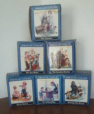 $ CDN25.42 • Buy Lot Of 6 Norman Rockwell Porcelain Mugs 1986 Classic Tankard Collection