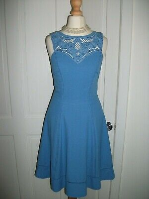Lovely WAREHOUSE Pale Blue Embroidered Cut Out Detail Flippy Sun Tea Dress Sz 6 • 0.99£