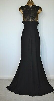 J S Collections Black Dress Size 12 Fit 14 16 Ball Evening Cocktail Floorsweeper • 69.99£