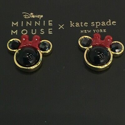 $ CDN53.03 • Buy Kate Spade Minnie Mouse Stud Earrings Black With Red Bow Disney Mickey