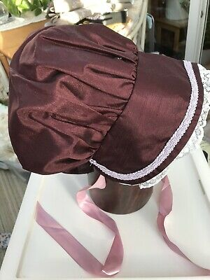 Soft Fabric Bonnet, Regency / Jane Austen Style, Plum With Lace And Ribbon Ties • 6.50£