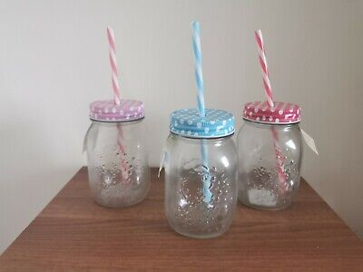 Mason Jars Lid Straw Set Of 3 Multi Coloured Pink Baby Pink And Blue Glass • 12£