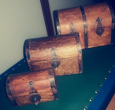 3 Wooden Chest Trunk Boxes • 3.50£