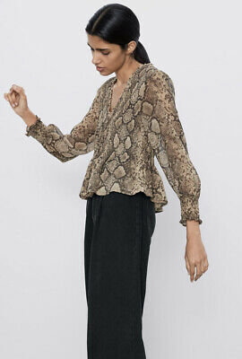 AU20 • Buy Zara Snake Print Blouse, V Neck Long Sleeve, Size 8 (36) RRP $70