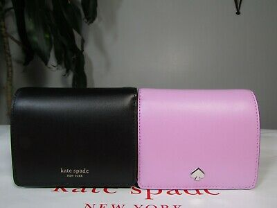 $ CDN62.93 • Buy NWT Kate Spade Leather Nadine Small Bifold Wallet Lavndrfrst Or Black