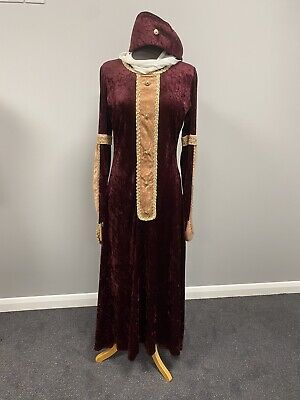 Medieval Lady Burgundy Dress & Hat Size Small - Period Costume, Cosplay, Tudor • 20£