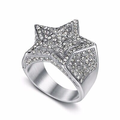 £14.99 • Buy Fully Iced Out Silver STAR Pinky Ring - Rapper Hip Hop Yankees