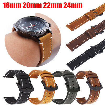 £6.48 • Buy Genuine Leather Watch Band Strap 18/20/22/24mm Quick Release Pin Replacement