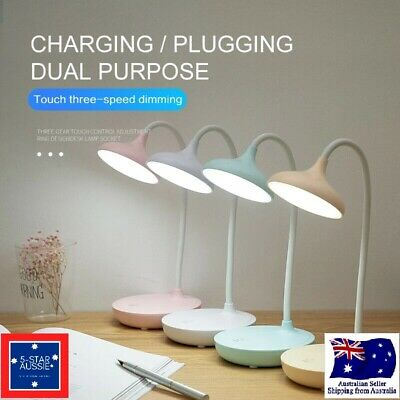 AU19.99 • Buy Dimmable Touch Sensor USB Charge LED Desk Table Night Bedside Reading Lamp White